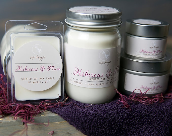 Soy Wax Candle - Hibiscus & Plum - Spring Scents
