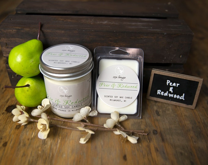 Soy Candle - Pear & Redwood - Year Round Fragrance