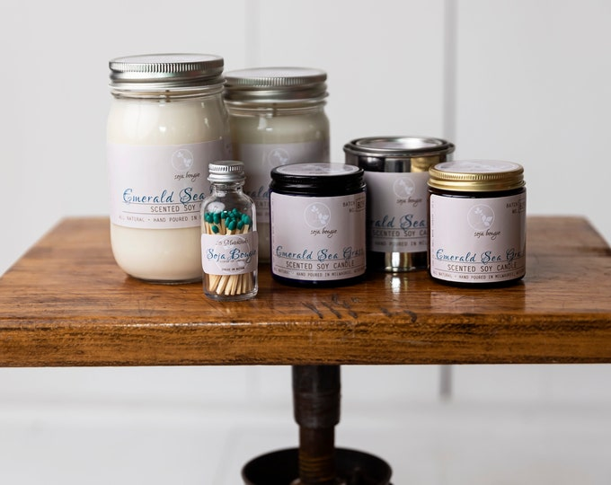 Featured listing image: Soy Candle - Emerald Sea Grass - Spring Scents