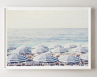 Blue Beach Umbrellas Print, Beach Umbrella Printable, Beach Digital Poster, French Riviera Print, Aerial Beach Art, Digital Download