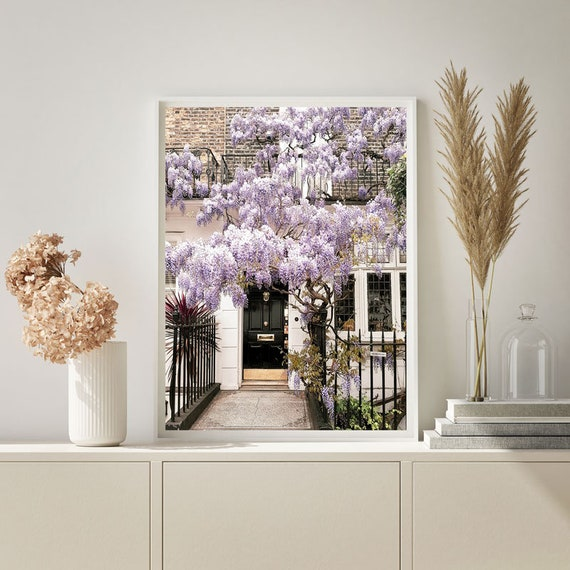 Printable Notting Hill Poster Digital Downloads Floral Wall Print London Wisteria Print