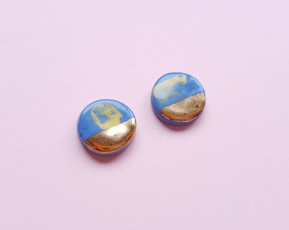 Round ceramic stud earrings, Blue clay yellow brush strokes, genuine gold lustre, sterling silver posts