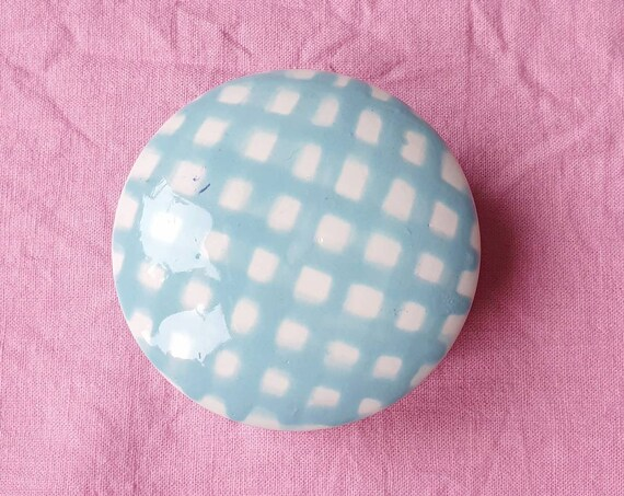 Decorative ceramic pot , blue gingham hand painted, trinket jar, 25% donation to charity