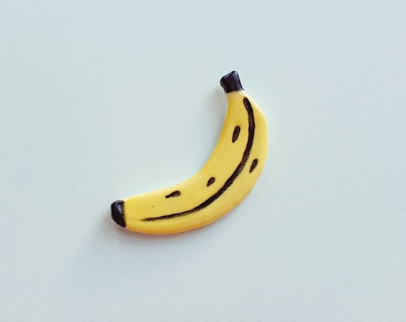 Banana brooch, hand painted ceramic