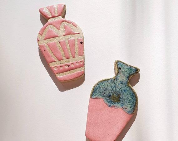 Vase brooch, hand painted ceramic (choose option)