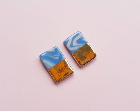 Marbled blue and pink ceramic studs, rectangle with genuine gold edge, sterling silver post