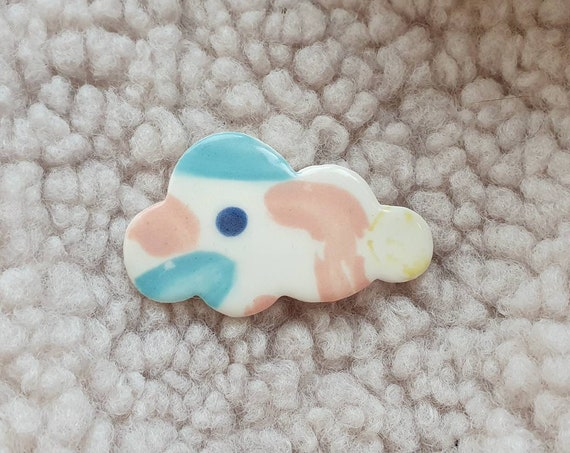 Ceramic cloud brooch, gold lining, colourful hand painted clay