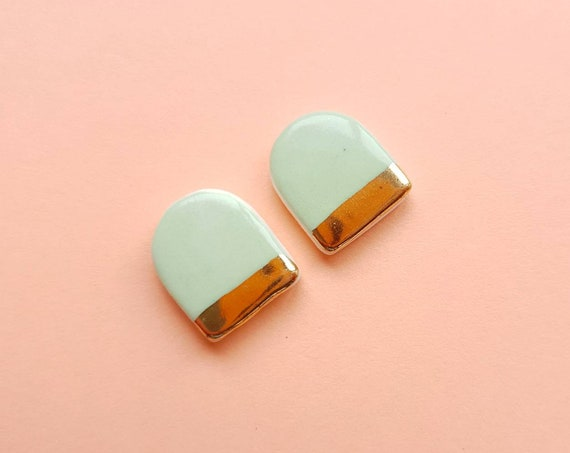 Green arch ceramic studs, genuine gold edge, sterling silver post