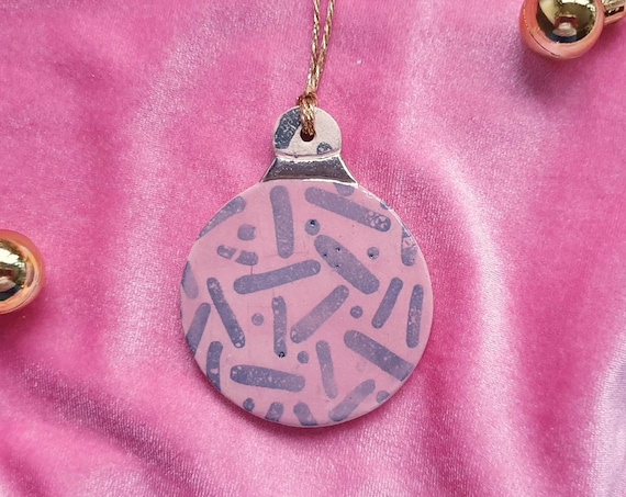 Ceramic tree ornament, Christmas decoration, pink bauble, lustre detail, stoneware clay