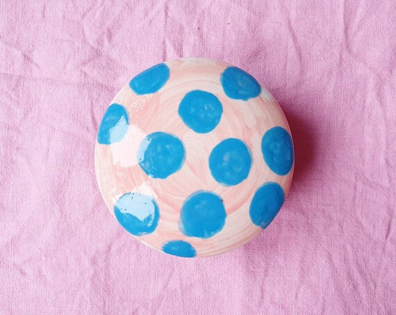 Decorative ceramic pot , pink with dotty blue hand painted, trinket jar, 25% donation to charity