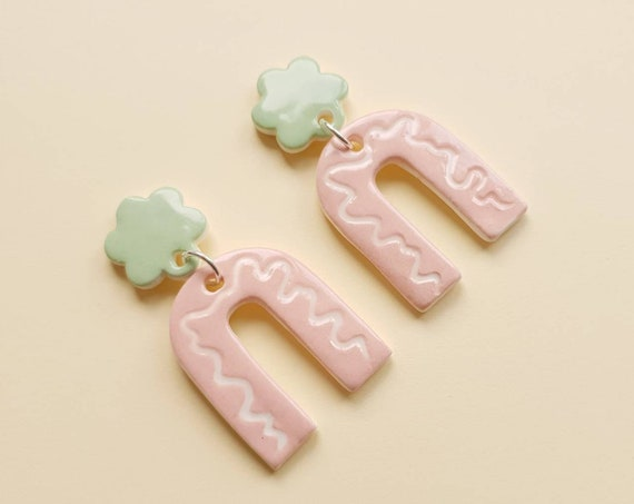 Statement arch dangles , green daisy studs with pink/white wiggles, ceramic with sterling silver posts