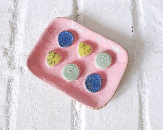 Ceramic soap dish, colourfull glszes and shapes, stoneware clay