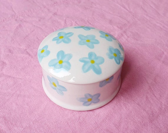 Decorative ceramic pot , blue flowers hand painted, trinket jar, 25% donation to charity