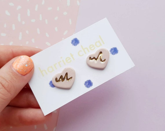 Ceramic heart studs, genuine gold wavy detail, sterling silver posts, stud earrings
