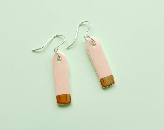Mini pink gold edge dangles, ceramic with sterling silver posts