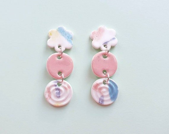 Statement drop dangles, daisys and swirls, ceramic with sterling silver posts