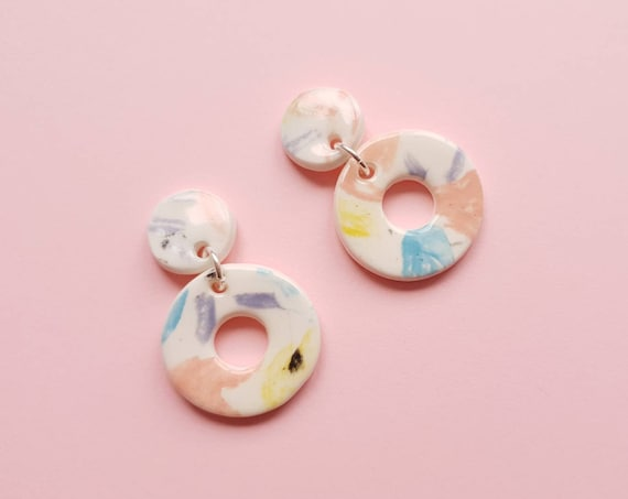 Statement drop dangles (small) , colourful mini hoops, ceramic with sterling silver posts
