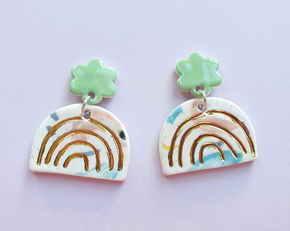 Gold rainbow dangles, green daisy studs, ceramic with sterling silver posts