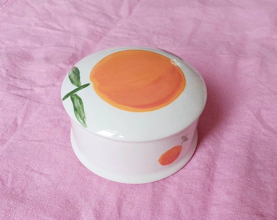 Decorative ceramic pot , Orange with leaf hand painted, trinket jar, 25% donation to charity
