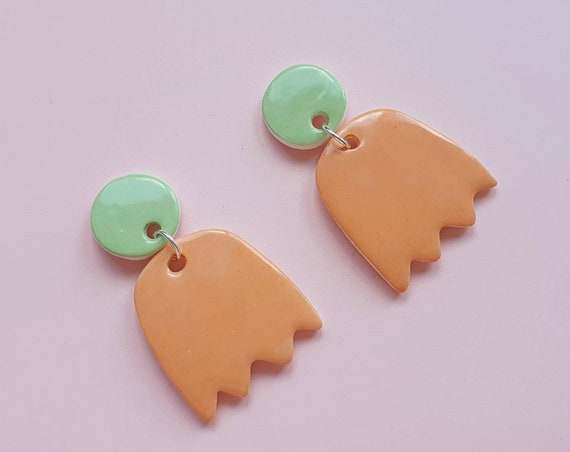 Statement drop dangles, green studs and orange wiggles, ceramic with sterling silver posts