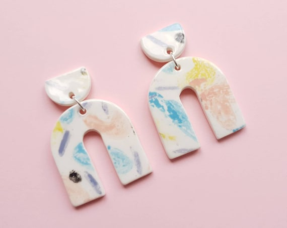 Statement arch dangles, ceramic with sterling silver posts