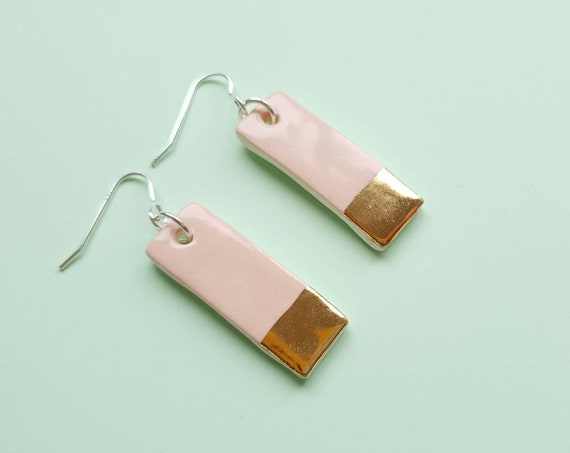 Pink gold edge dangles, ceramic with sterling silver posts