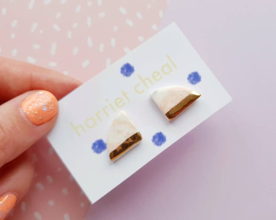Chunky edge studs, gold detail, ceramic with sterling silver posts
