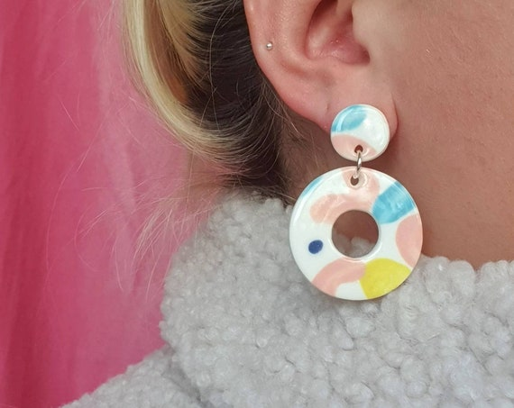 Hoop ceramic drop dangles, colourful pastel clay, hand painted, sterling silver posts