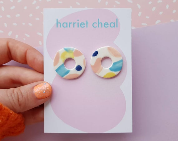 Statement studs, colourful mini hoops, ceramic with sterling silver posts