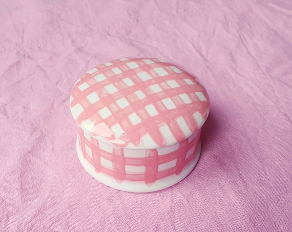 Decorative ceramic pot , pink gingham hand painted, trinket jar, 25% donation to charity