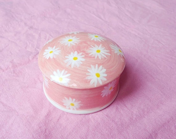 Decorative ceramic pot , pink with daisys hand painted, trinket jar, 25% donation to charity
