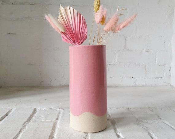 Pink wavy glazed ceramic vase, high fired speckled stoneware