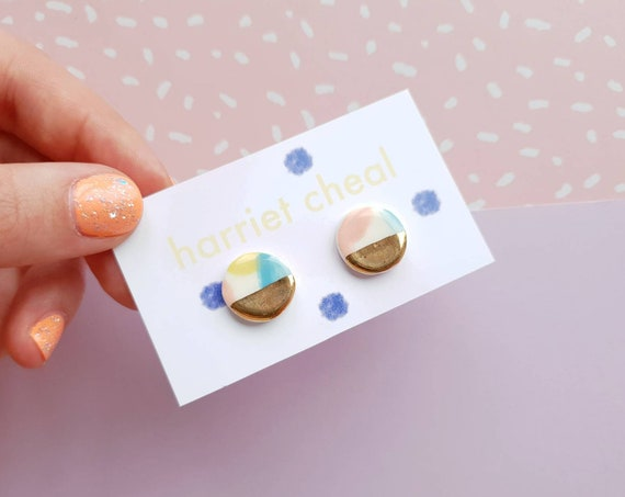 Statement studs, colourful mini circles, genuine gold lustre, ceramic with sterling silver posts