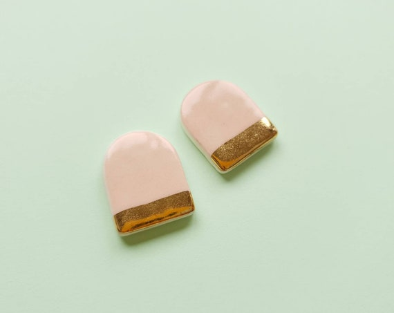 Pink arch ceramic studs, genuine gold edge, sterling silver post