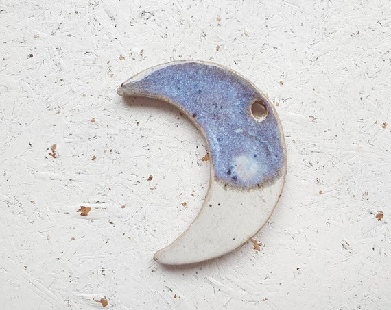 REDUCED SECONDS Hanging moon decoration,  blue and white glaze