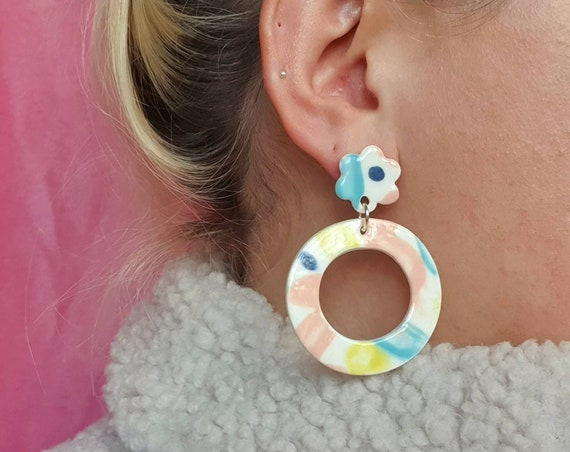 Large hoop ceramic drop dangles, colourful pastel clay, hand painted, sterling silver posts