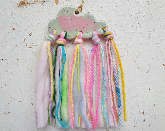 Ceramic cloud hanging tree ornament, textile wall hanging, colourful yarn decoration with stoneware cloud, blue and pink glazes