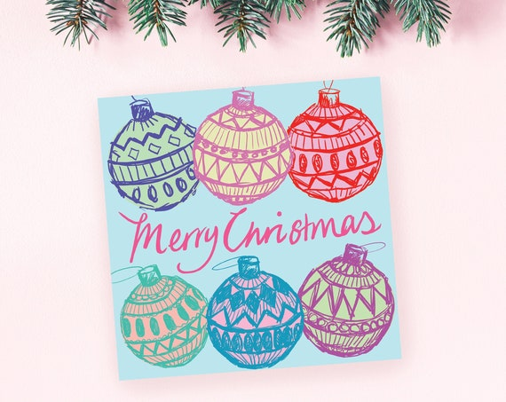 PACK OF 10 Bauble Christmas card - holiday card pack, illustrated, Merry Christmas, kitsch