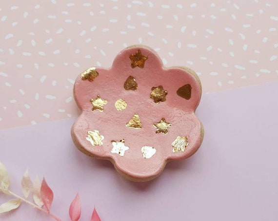 Ceramic jewellery dish, trinket dish, pink glaze with genuine gold lustre shapes