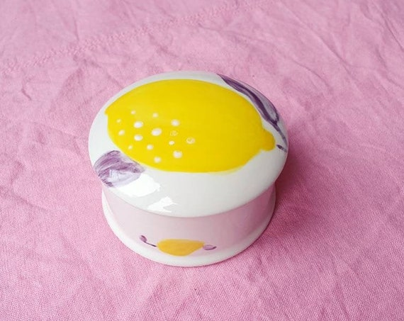 Decorative ceramic pot , lemon hand painted, trinket jar, 25% donation to charity