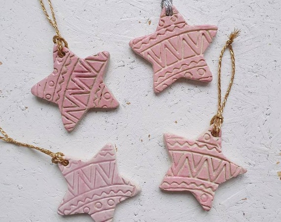 Ceramic tree ornaments,  set of 4, pink star decoration, Christmas decoration, present topper