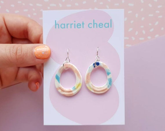 Textured hoop ceramic drop dangles, colourful pastel clay, hand painted, sterling silver posts