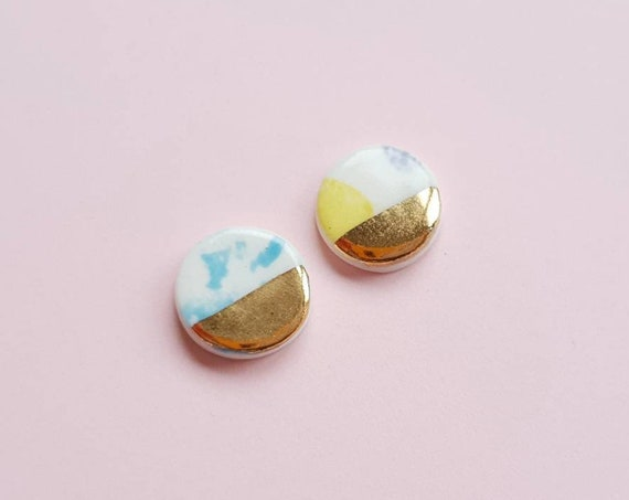Round ceramic stud earrings, genuine gold lustre, sterling silver posts