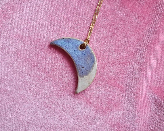 Mini hanging moon decoration,  blue and white glaze, for tree or present topper