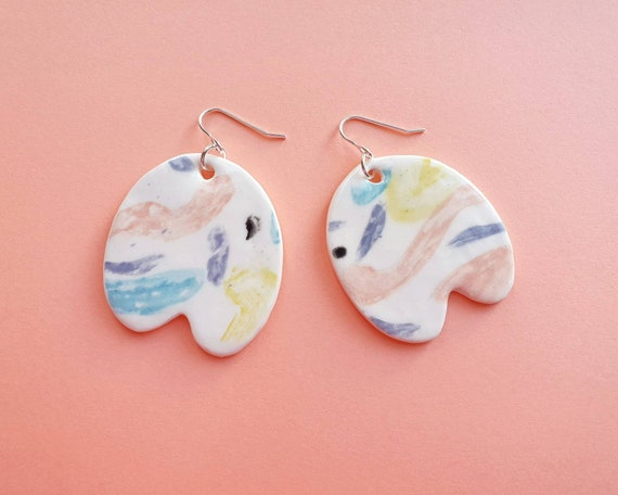 Abrtract shape statement dangles, ceramic with sterling silver hooks