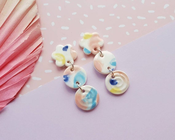 Statement drop dangles, colourful daisys and swirls, ceramic with sterling silver posts