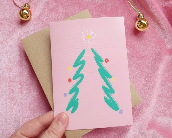 Pink Christmas tree card - Kitsch holiday card, illustrated, Merry Christmas, single or pack of 5