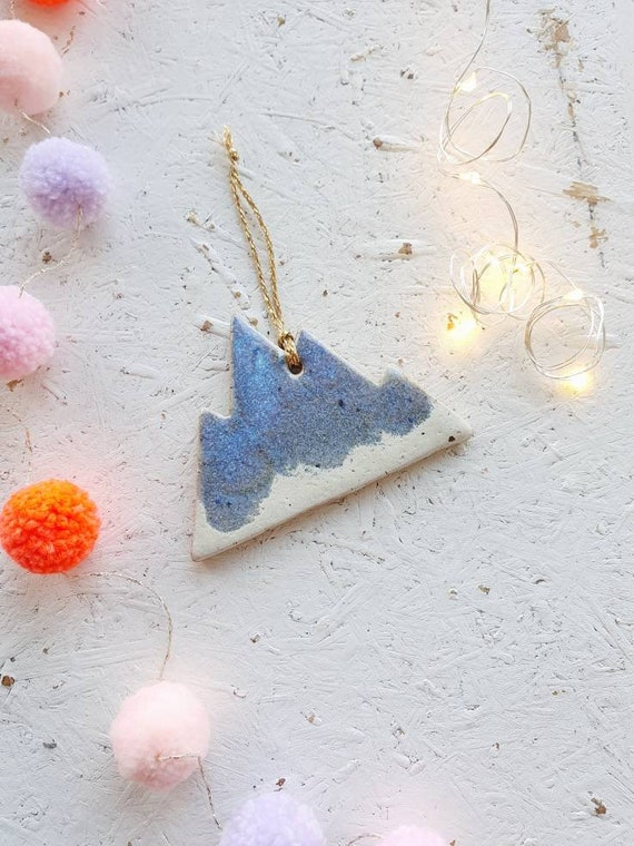 Hanging mountain tree ornament, Christmas decoration , speckled stoneware clay, blue and white glaze