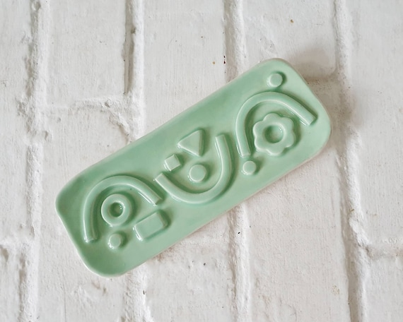 Ceramic long soap dish, mint glaze, geometric pattern, ceramic tray, stoneware