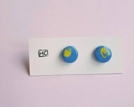 Ceramic circle stud earrings, blue clay yellow brush stroke,sterling silver posts